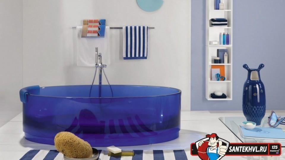 Стеклянные ванны из высокопрочного стекла  для загородных домов, квартир